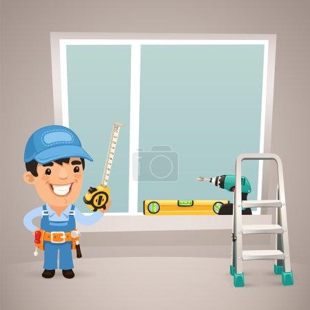 Worker Is Installing the Window