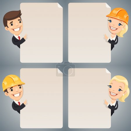 Businessmen Cartoon Characters Looking at Blank Poster Set