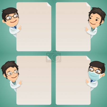 Illustration for Doctors Cartoon Characters Looking at Blank Poster Set. In the EPS file, each element is grouped separately. Clipping paths included in additional jpg format. - Royalty Free Image