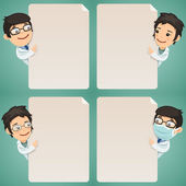 Doctors Cartoon Characters Looking at Blank Poster Set