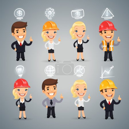 Businessmen with Icons Set