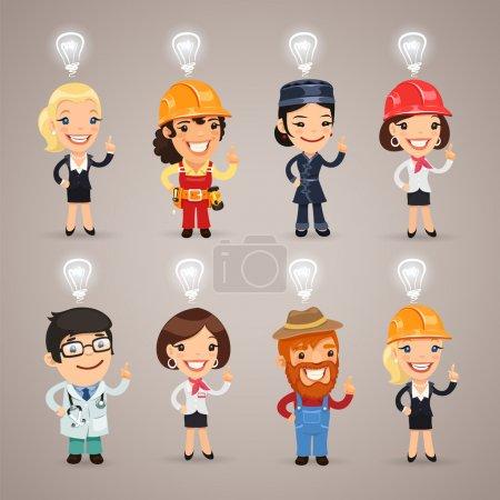 Illustration pour Ensemble des différents personnages de profession avec des signes d'idée au-dessus de leurs têtes. Dans le fichier EPS, chaque élément est regroupé séparément. Couper les chemins inclus dans le format jpg supplémentaire . - image libre de droit