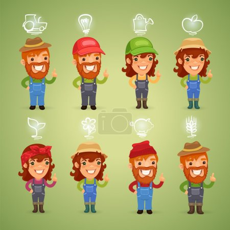 Farmers with Icons Set