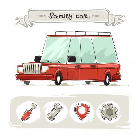 Cartoon Family Old Car Set