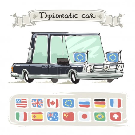 Diplomatic Car With Flags Set