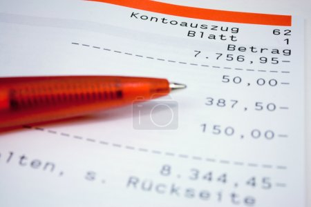 Statement of a bank account which slides further i...