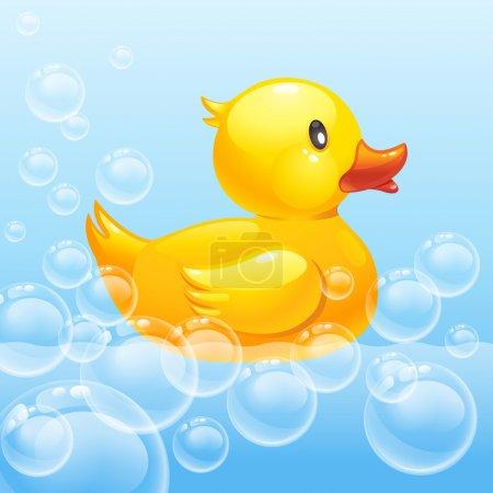 Rubber duck in blue water.