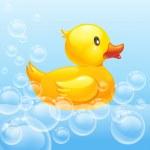 Rubber duck in blue water....