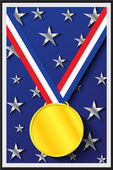 Gold Medal on Blue Background