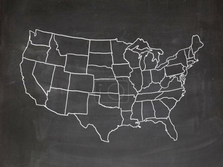 Photo for Map of the US drawn on a chalkboard - Royalty Free Image