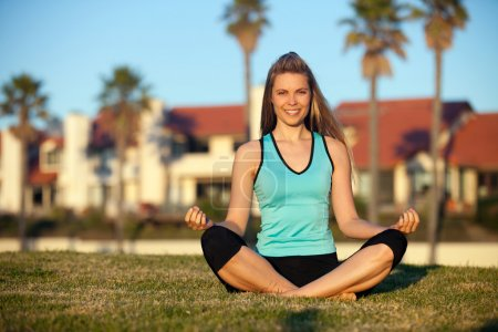 Photo for Young woman exercising in the park - Royalty Free Image