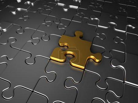 Gold und Silber Puzzleteile