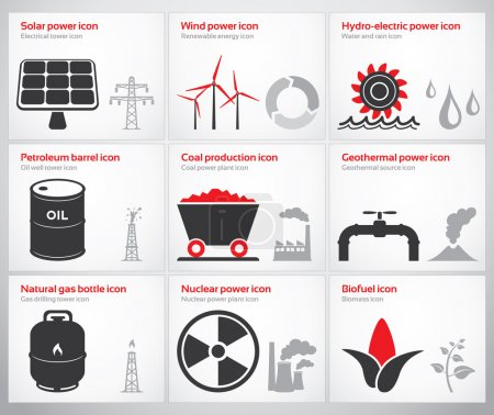 Energy symbols and icons