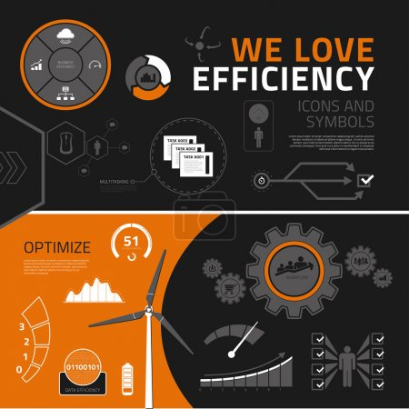 Efficiency infographic elements, icons and symbols