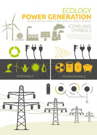 Illustration for Renewable and nonrenewable power generation graphic se - Royalty Free Image
