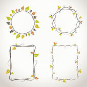 Decorative light floral frames with twigs and leaves with autumn colors