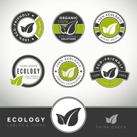 Illustration for Quality set of ecology labels and badges, seals and stamps - Royalty Free Image