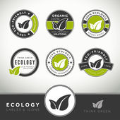Quality set of ecology labels and badges seals and stamps
