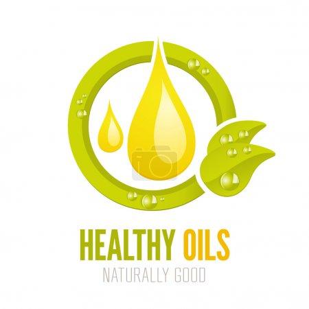 Illustration pour Conception d'étiquettes d'huiles naturelles et saines pour le web et l'impression - image libre de droit