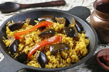 Eggplant Biryani - An Indian food made of rice and eggplant or brinjal