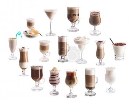 Set of coffee and milk cocktails