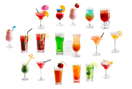 Set of different alcoholic cocktails
