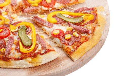 Pizza slice shifted closeup