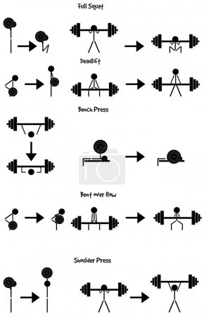 Stickman Weight training icon vector set