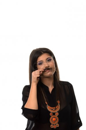 Cute girl with hair mustache