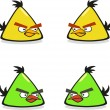 Vector illustration of evil birds.The yellow and t...