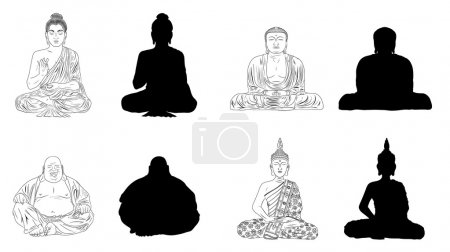 Buddha Black Vector Illustration Outline & Silhouettes