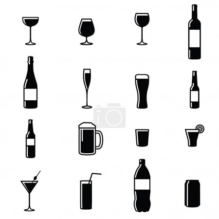 Illustration for Set Of Sixteen Drinks Black & White Silhouette Vector Illustrations - Royalty Free Image