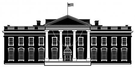 White House Washington DC Black Vector Illustration