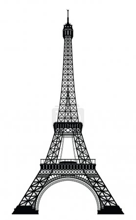 Illustration for Eiffel Tower Black Silhouette Vector Illustration - Royalty Free Image