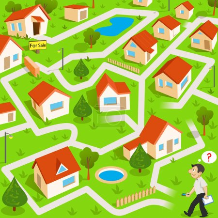 Illustration for Maze game: the funny real estate agent find the way to house for sale - Royalty Free Image