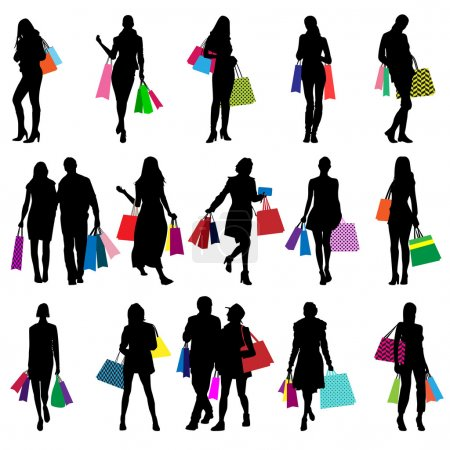 Female shopping silhouettes