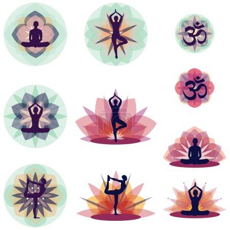 Illustration pour Silhouettes humaines en positions de yoga, concept - image libre de droit