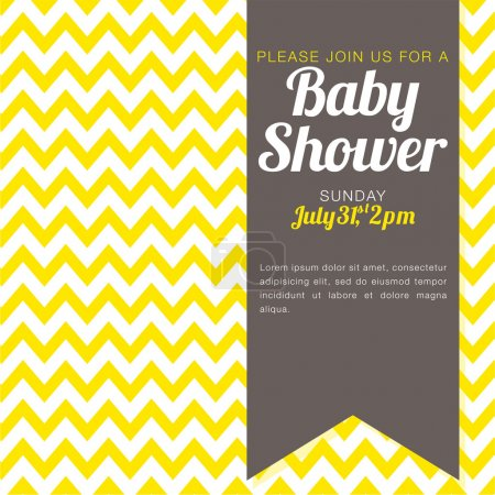 Illustration for Unisex baby shower invitation - yellow and white chevron background - vector illustration EPS10 - Royalty Free Image