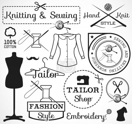 Knitting and Sewing Labels, Badges and Signs in Vintage Style