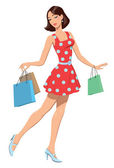 The girl in a red dress with purchases
