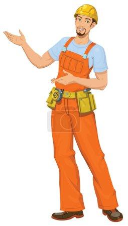 Illustration pour Illustration vectorielle du pointage du constructeur souriant - image libre de droit