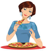 Girl eating pizza - vector illustration