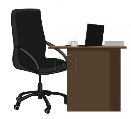 Illustration for Office chair and office desk with a laptop and a Cup of coffee - Royalty Free Image