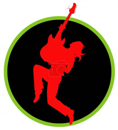 Guitarist silhouette in a black circle