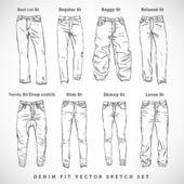 Denim fit vector sketch set