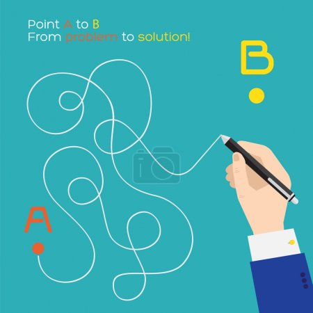 Illustration for Point A to B flat pen route - Royalty Free Image