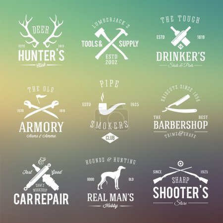 Vintage Labels With Retro Typography for Mens Hobbies Such as Hunting, Arms, Dog Breeding, Car Repair etc. on Abstract Background