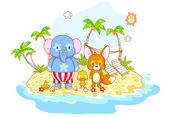 Cartoon animals on the beach