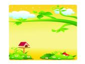 Colored beautiful landscape cartoon