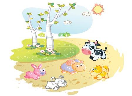 Farm animals cartoon posing in the street garden